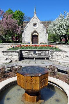 The fountain returns to Marquette University's St. Joan of Arc Chapel.