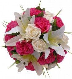 Ivory Lily & Cerise Rose Brides Wedding Bouquet