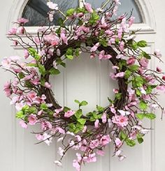 Spring Festival Pink Cherry Blossom Silk Floral Wreath for Front Door Includes Door Wreath Hanger Interior Summer Decor Silk Flower Wreaths, Silk Flowers, Floral Wreath, Spring Door Wreaths, Wreaths For Front Door, Front Porch, Decorating Stairway Walls, Wreath Hanger, Wall Decor Pictures
