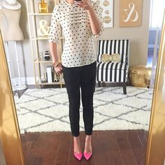 Petite Travel Outfits | Forever 21 pintucked polka dot blouse Old Navy black jeans Kate Spade ...
