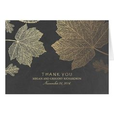 Country Wedding Thank You Cards Gold Fall Leaves Wedding Thank You Card
