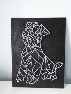 """Czy wiesz, że """"Pies to symbol towarzysza i opiekuna, jest postrzegany jako uosobienie lojalności, wierności, uczci String Wall Art, Nail String Art, Diy Wall Art, Diy Art, Wall Decor, Easy Animal Drawings, Easy Drawings, Geometric Quilt, Geometric Art"""