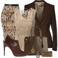 Brown printed pencil skirt with lace top and blazer.
