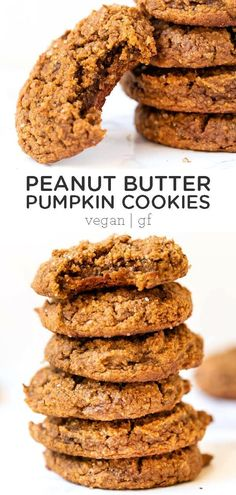 *GF*These Pumpkin Peanut Butter Cookies are so great for a crowd this fall! They're vegan, gluten-free, refined sugar-free and also use just one bowl and less than 10 ingredients to make! Easy homemade, from-scratch recipe. So chewy and delicious! Gluten Free Peanut Butter Cookies, Healthy Cookies, Sugar Cookies, Lemond Curd, Vegan Pumpkin Cookies, Christophe Felder, Biscuits, Vegan Sweets, Dessert Recipes