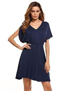 Women Summer V-neck Split Sleeve Casual Fit Flare Tunic Dress