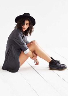 Staring at Stars Scout Panama Hat, Urban Outfitters, styled with Dr Martens, gray blazer