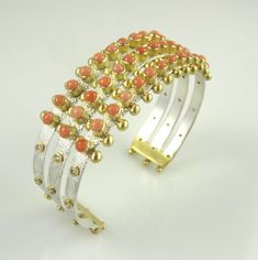 Coral Cuff by Native American artist, Keri Ataumbi (Ataumbi Metals) Gold Models, Live Coral, Native American Artists, Coral And Gold, Bangles, Bracelets, Color Of The Year, Pantone Color, Arts And Crafts