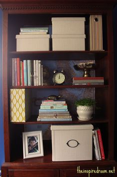 Papering the back of a bookcase with a pretty map. {Home Office Makeover} - The Inspired Room