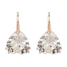 2017 Fashion Vintage Rose Gold Crystal Heart Rhinestone Dangle Earrings