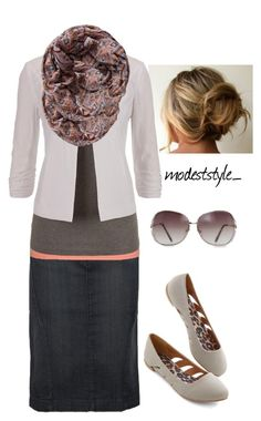 """""""Grey and coral"""" by modeststyle-studio ❤ liked on Polyvore featuring MANGO and Pieces"""