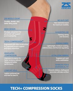 The knee-high Zensah Tech Compression Socks deliver graduated compression to help improve circulation for fast recovery and less fatigue when you're running. Compression Clothing, Compression Sleeves, Compression Stockings, Best Carry On Luggage, Support Socks, Shin Splints, Running For Beginners, Running Socks, Shopping