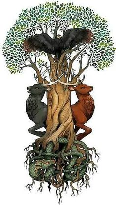 ... Yggdrasil, Niohoggr, Two of the Four Deer, And the Eagle That Resides at the…
