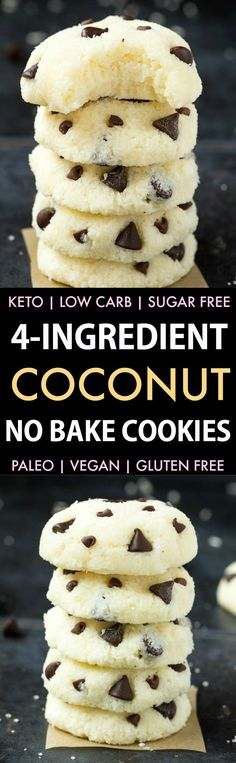 4 Ingredient No Bake Coconut Cookies (Keto, Paleo, Vegan, Sugar Free)- An easy, 5-minute recipe for soft coconut cookies.