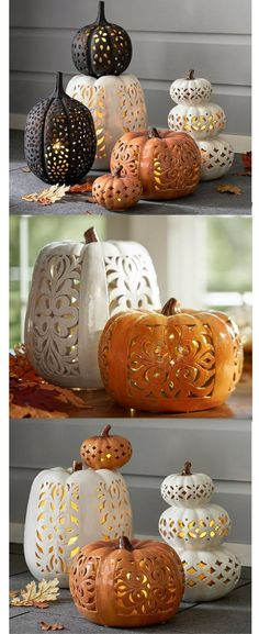 Ceramic pumpkins - love the filigree design of the pumpkins! put a flickering flameless candle inside and it would be beautiful! Fall decor fall pumpkin decor Halloween decor Thanksgiving decor click the link now for more info. Thanksgiving Decorations, Seasonal Decor, Halloween Decorations, Fall Decor, Fall Pumpkins, Halloween Pumpkins, Fall Halloween, Filigranes Design, Beton Design