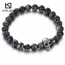 Kalen Punk Rock Colorful Glass Beads Bracelets Stainless Steel Skull Head Charm Bracelet Cool Costume Jewelry For Men Party Gift(China (Mainland))