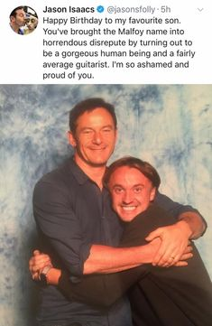 Malfoy love from Jason Isaacs and Tom Felton. Harry Potter Ron Weasley, Harry Potter Puns, Theme Harry Potter, Harry Potter Universal, Harry Potter World, Hermione Granger, Hogwarts, Slytherin, Drarry
