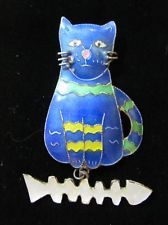 Enamel over Sterling Silver Cat & Fishbone Brooch Pin Possibly by Zarah