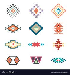 Imágenes similares, fotos y vectores de stock sobre Native tribal pattern set. Colorful geometric design, aztec and indian culture design collection and ornament. Flat style vector logo isolated on white background. Mayan Symbols, Viking Symbols, Tribal Symbols, Egyptian Symbols, Viking Runes, Ancient Symbols, Tribal Images, Motifs Aztèques, Symbole Viking