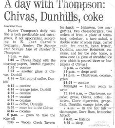 Hunter S. Thompson's daily routine would kill most people