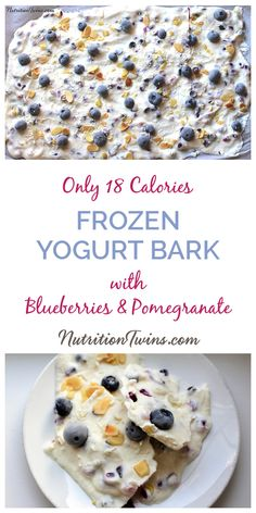Frozen Yogurt Bark with Blueberries and Pomegranate | Olnly 18 Calories | Easy, Healthy, Refreshing Sweet Indulgence | For Nutrition & Fitness Tips & MORE RECIPES please SIGN UP for our FREE NEWSLETTER www.NutritionTwins.com