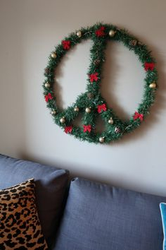 peace sign  christmas hanging sign red with white spot