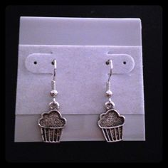 Buy 2 Get 3 FREE! Cupcake earrings Handmade silver earrings. crystalirisdesign  Jewelry Earrings