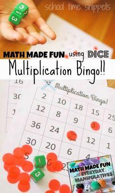 Math made fun using dice in this printable Multiplication Bingo Game!