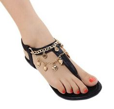 Stylish Women's Sandals With Chain and Flip-Flop Design Color: BLACK, GOLDEN Size: 35, 36, 37, 38, 39 Category: Shoes > Women's Shoes > Womens Sandals   Gender: For Women  Sandals Style: Ankle-Wrap  Closure Type: Elastic band  Shoe Width: Medium(B/M)  Pattern Type: Solid  Embellishment: Chains  Occasion: Casual  Upper Material: PU  Lining Material: PU  Style: Fashion  #cheapsandalsshoeswomen #cheapsandals #womensandals #sandals #bridgat.com