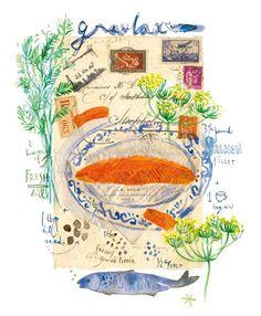 Scandinavian Gravlax recipe, 8X10 print, Art for kitchen, Watercolor, food illustration, Travel journal, Vintage mail art, poster. $25.00, via Etsy.