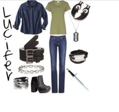 Outfit inspired by Supernatural character Lucifer (as played by Mark Pellegrino)… Supernatural Fashion, Supernatural Outfits, Supernatural Cosplay, Supernatural Fandom, Castiel, Nerd Fashion, Fandom Fashion, Grunge Fashion, Disney Fashion