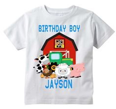 Farm Animal Birthday T-shirt, PERSONALIZE Name Age, custom, party, OwnageINK #GildanorRabbitSkin