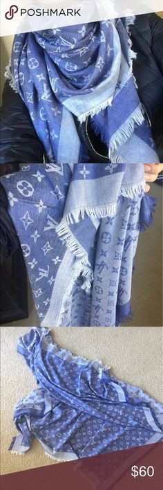 Blue & white scarf ❗️NOT AUTHENTIC🌸Blue and white scarf.  180cm x 180cm. Size large. Price reflects obvious. Good quality though. Very nice scarf. Accessories Scarves & Wraps