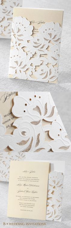 I don't love this design but the laser cut is a cool idea #weddinginvitation