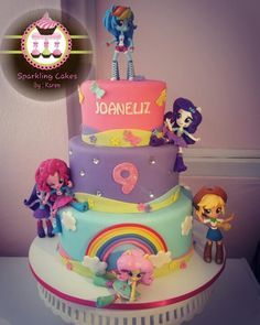 My Little Pony: Equestria Girls Cake My Little Pony Party, Cumple My Little Pony, Little Girl Birthday, Birthday Cake Girls, Birthday Parties, 4th Birthday, Equestria Girls, Girls Party, Rainbow Birthday