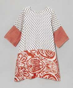 Another great find on #zulily! White & Orange Polka Dot Floral Shift Dress - Toddler & Girls by Yo Baby #zulilyfinds