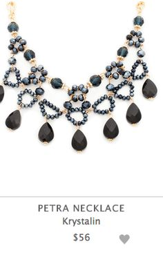 "Create your own signature look with the Petra necklace. It features of sleek black teardrop beads on a gold chain. Unique in every way, this statement necklace is a jewelry box must-have.  - Gold tone metal, beads - 16"" long - Lobster clasp closure"
