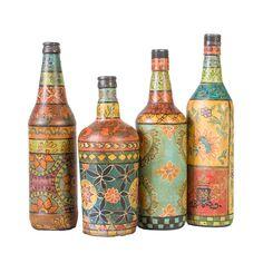 earth de fleur homewares hand painted glass decorative bottles set of 4 - Decorative Glass Vases