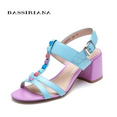 (115.00$)  Buy here  - New 2017 shoes woman high heels genuine leather sandals for woman square heel 35-40 Free shipping BASSIRIANA