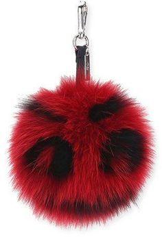 Fendi Fur Monster Face Charm, Red