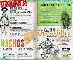 El Camino Tex-Mex Joint: Menu and Posters by Mark Allen, via Behance. Queso Flameado, Mexican Food Menu, Mexican Grill, Restaurant Identity, Restaurant Menu Design, Tex Mex, Speisenkarten Designs, Card Designs, Menu Original