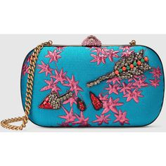 Gucci Broadway Floral Jacquard Clutch ($2,980) ❤ liked on Polyvore featuring bags, handbags, clutches, gucci, purses, blue handbags, gucci pochette, embroidered purse, gucci handbags and hand bags