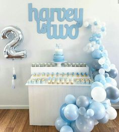 Such a lovely party set up from 💙 via Balloon Backdrop, Balloon Decorations Party, Balloon Garland, Balloons, Baby Boy Birthday, 2nd Birthday Parties, Bebe Shower, Party Themes For Boys, Baby Boy Cakes