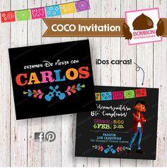 Coco Birthday Party Fiesta de cumpleaños. ¿Listos para la Fiesta con tema #COCOpixar? ¡Listos con los productos de #InvitacionesBOMBON! Ordena solo invitaciones o un paquete completo. <3 #Coco #Pixar #Disney #Invitation #invitación #ticket #stickers #props #favorbag #waterlabel #banner #cupcake #toppers #printable #partykit #party