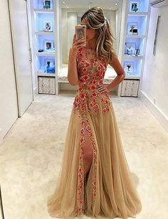 Beautiful Prom Dress, unique tulle prom dress applique long prom dress with side slit sleeveless prom dress formal dress prom dresses 2018 Meet Dresses Split Prom Dresses, Floral Prom Dresses, Formal Dresses For Teens, A Line Prom Dresses, Tulle Prom Dress, Pretty Dresses, Dress Up, Dress Formal, Formal Prom