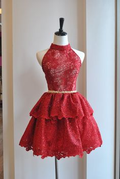 3ab566d923f4 Le Obsession Boutique. RED LACE FLAIR BALLERINA DRESS