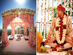 #Mandap in peaches, pinks, yellows, and crèmes - very romantic!