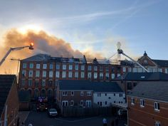 Firefighters are tackling a blaze at a block of flats in Nottingham. Eight engines were at the fire at Springfield Mill on Bridge Street in Sandiacre, with two aerial ladder platforms, two water Tuesday Afternoon, Hampton Court, Pictures Of The Week, Firefighters, Nottingham, East London, Hampshire, Birmingham, Ems