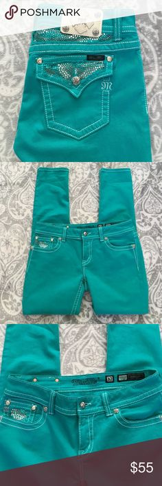 New Listing! Miss Me Skinny Jeans Gorgeous turquoise Miss Me Skinny Jeans. Brand new condition- worn once. Size 32x33 Miss Me Jeans Skinny