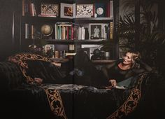 Fashion legend Kate Moss looks magnificent alongside this onyx crushed velvet and honey taffeta throw from the Atelier Textiles archive. A beautiful and sophisticated shoot from Business of Fashion magazine. Photo by Nickolai von Bismarck.