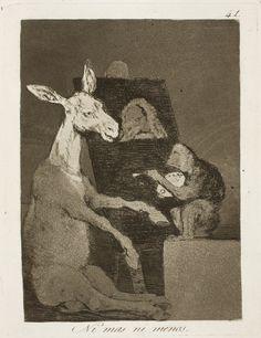 """Francisco de Goya: """"Ni mas ni menos"""". Serie """"Los caprichos"""" [41]. Etching, aquatint, drypoint and burin on paper, 197 x 149 mm, 1797-99. Museo Nacional del Prado, Madrid, Spain"""